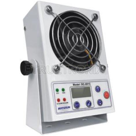 พัดลมทำลายไฟฟ้าสถิตมีจอแสดงผลประจุ DC-001C Ionizer Blower