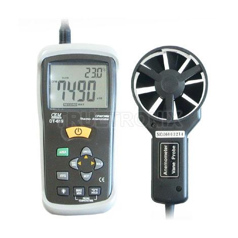เครื่องวัดความเร็วลมและวัดอุณหภูมิ Thermo Anemometer DT619