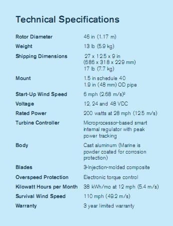 Air Breeze Wind Turbine 200 W DC 24V (Off-grid) 3