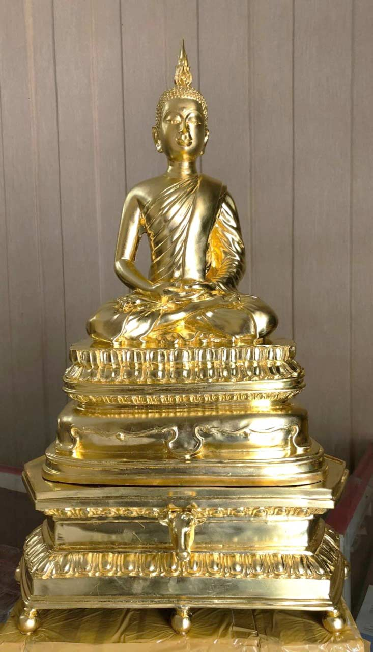 พระบูชานิรันตราย เนื้อโลหะปิดทอง  ปี 2554 ขนาดหน้าตัก 9 นิ้ว No.1298 จัดสร้าง  (เช่าบูชาไปแล้ว)