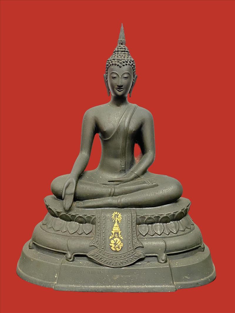 พระบูชา ภปร. ขนาดหน้าตัก 5 นิ้ว วัดบวรนิเวศวิหาร ปี 08 พิมพ์หนังไก่ รุ่นแรก หมายเลข 2 19505