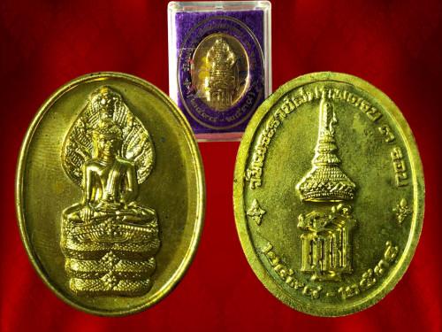 เหรียญนาคปรก ด้านหลังตรา สธ. วาระครบ 3 รอบ สมเด็จพระเทพรัตนราชสุดา ปี 2534 เนื้อทองเหลือง พร้อมกล่อง