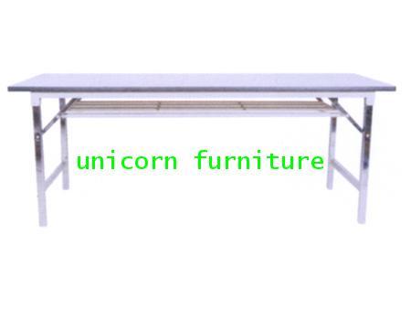 โต๊ะพับ โต๊ะขาพับ +ชั้นวางของ โครงชุบโครเมี่ยม