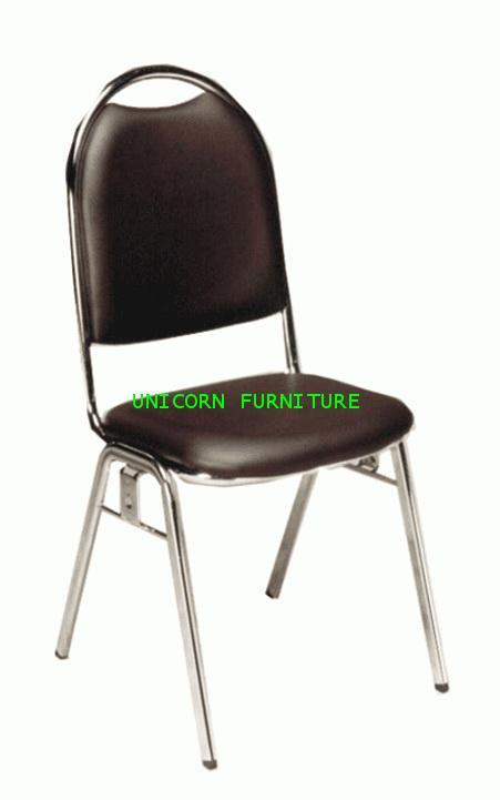 เก้าอี้จัดเลี้ยงรุ่นรับปริญญา ขาแป๊ปรูปไข่ชุบเงา รุ่น UN-143