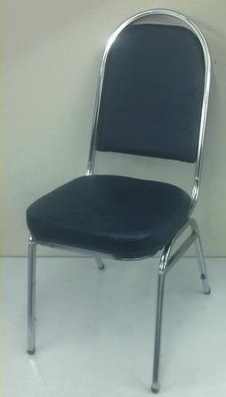 เก้าอี้จัดเลี้ยง พนักพิงใหญ๋ เสริมคานคาดขา โครงชุบเงา เบาะหนัง