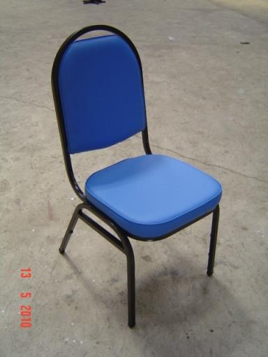 เก้าอี้จัดเลี้ยงพนักพิงใหญ่ รัดขาทรงเอ โครงพ่นสีดำ