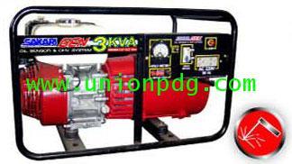 เครื่องปั่นไฟ เครื่องกำเนิดไฟฟ้า แบบมีระบบเชื่อมได้ ขนาด 3 KVA/HONDA GX160/ 3.2MM