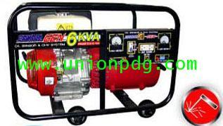 เครื่องปั่นไฟ เครื่องกำเนิดไฟฟ้า แบบมีระบบเชื่อมได้ ขนาด 6 KVA/HONDA GX270/ 4.0 MM