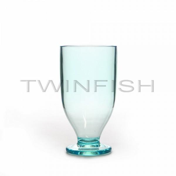 แก้วพลาสติกใสมีขาสีฟ้า