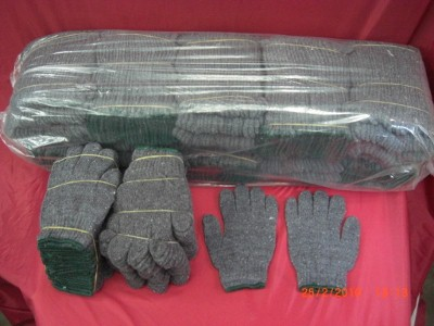 ถุงมือผ้าถักผ้าดิบเทาขอบเขียว