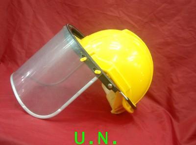 หน้ากากกันสะเก็ดเหลือง แบบสวมหัวพร้อมสวมเข้ากับหมวกเซฟตี้(มอก) พลาสติกแบบพีซีอย่างดี(ราคาไม่รวมหมวก)