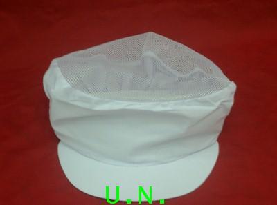 หมวกกุ๊ก(สีขาว--สีฟ้า)ตาข่ายบน