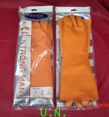 ถุงมือยางส้มSTRONG MAN(สตรองแมน)หนายาว16นิ้ว