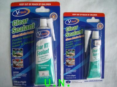 กาวซิลิโคนแบบหลอดยาสีฟัน(V-tech)Clear Sealant สีใส(หลอดใหญ่ 75g)(หลอดเล็ก32g)
