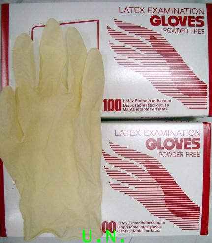 ถุงมือแพทย์(แบบไม่มีแป้ง)สีขาวเนื้อ(ลาเท็กซ)LATEX EXAMINICATION GLOVES  หนาอย่างดี ราคาถูกและประหยัด