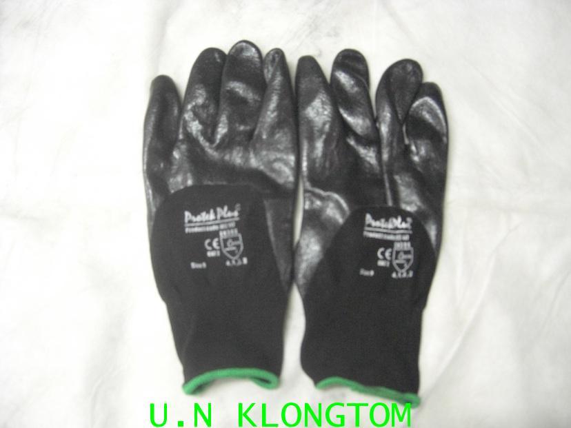 ถุงมือเคลือบโฟมไนไตรดำ3/4(MS117)(กันลื่น กันน้ำมันได้ดี)