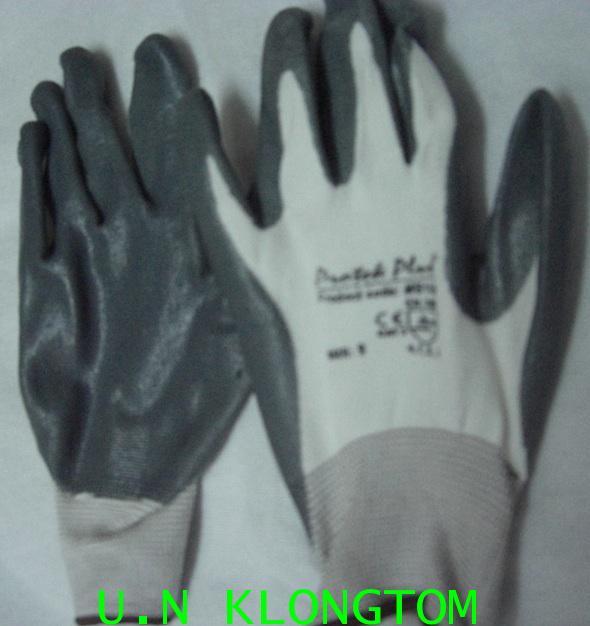 ถุงมือเคลือบโฟมไนไตรเทารุ่น(MS116)(กันลื่น กันน้ำมันได้ดี)
