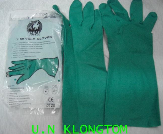 ถุงมือยางเขียวไนไตร กันสาร(ตองก้า) size M เท่านั้น