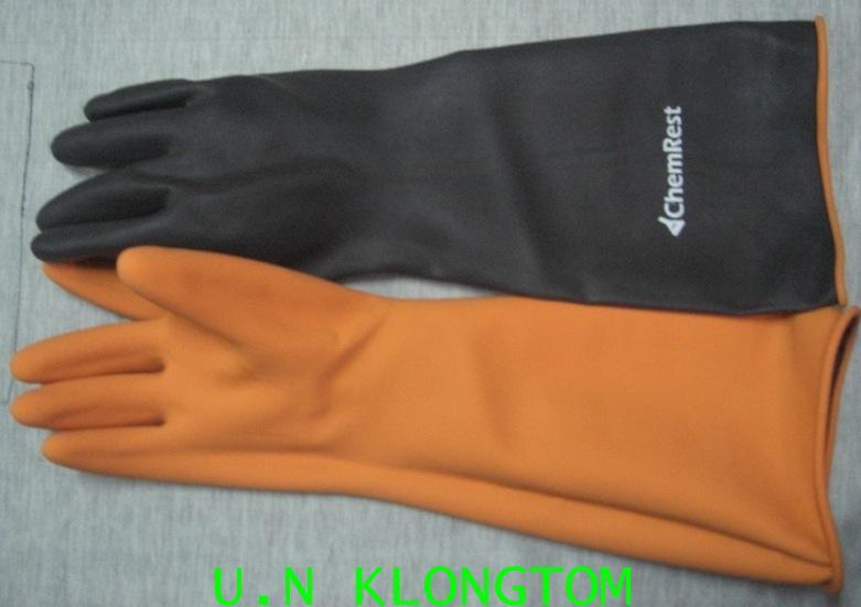 ถุงมือยางหนายาว18นิ้ว(1ข้างมี2ด้านทั้งด้านสีดำและด้านสีส้ม)
