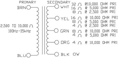 Hammond 125ESE - Output Transformer - Universal, Single Ended, 15 W, 80 mA 3