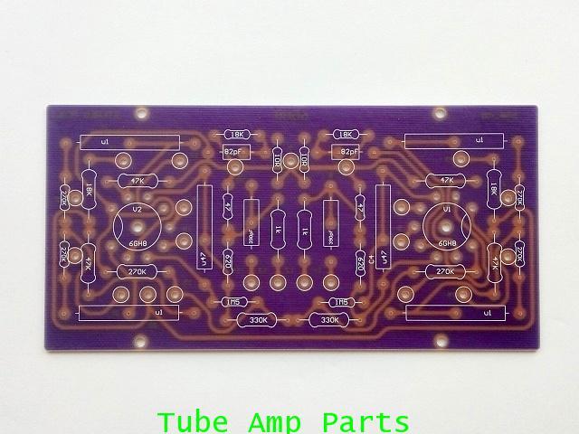 แผ่น PCB ภาคไดร์เวอร์สำหรับ Dynaco ST70 (6GH8A Version)