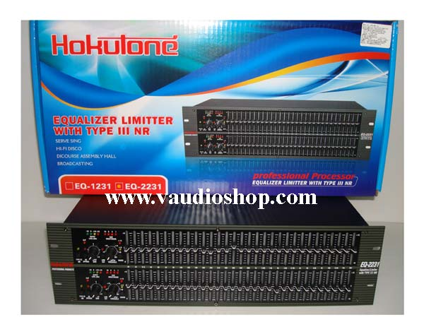 Stereo Equalizer with limiter 31x2 HOKUTONE EQ-2231
