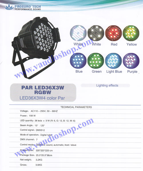 ไฟพาร์ 36*3W RGBW 4สี