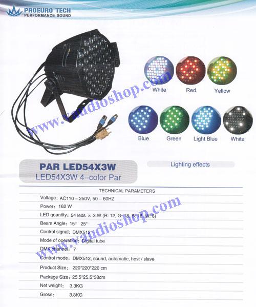 ไฟพาร์ 54*3W RGBW 4สี