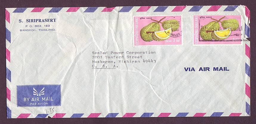 ซองจดหมาย พ.ศ. 2515 ส่งไปอเมริกา ค่าส่ง 6 บาท ติดแสตมป์ผลไม้ไทยชุดแรก 2 ดวง สวย
