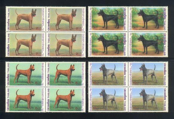 แสตมป์ชุดสุนัขไทย ปี 2536 บล็อกสี่ ยังไม่ใช้สภาพสวย