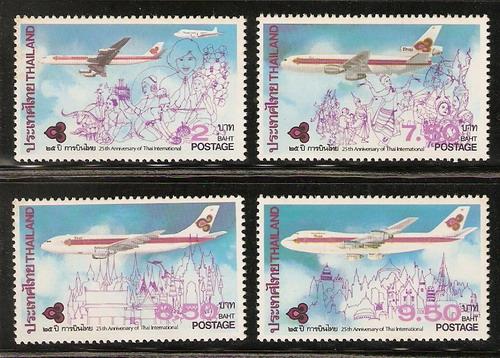 แสตมป์ชุดครบรอบ 25 ปี การบินไทย ปี 2528 ยังไม่ใช้
