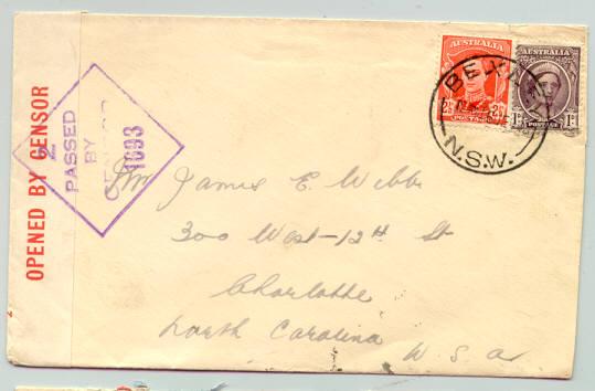 ซองเซ็นเซอร์ สมัยสงครามโลกครั้งที่ 2 จากออสเตรเลีย ไปอเมริกา