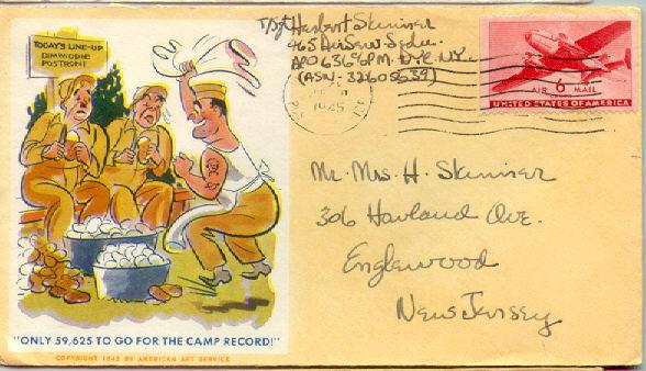 ซองจดหมายรูปกองทัพติดแสตมป์จาก booklet ปี 1945