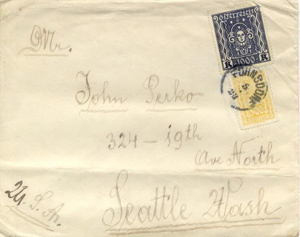 ซองจดหมายหายาก ปี 1923 ส่งจากออสเตรีย ไปอเมริกา