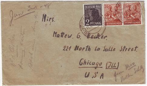 ซองจดหมายเก่า ส่งจากเยอรมันไปอเมริกา ปี 1948