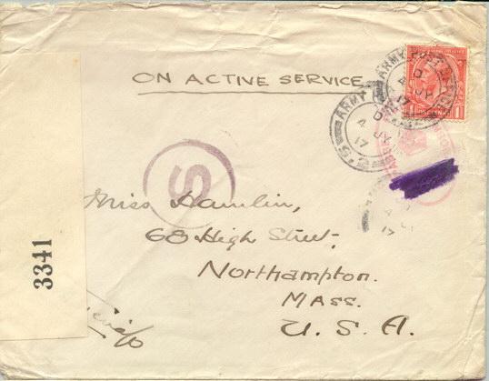 ซองจดหมายเก่า เป็นซองเซ็นเซอร์ โดยไปรษณีย์ของกองทัพอังกฤษ ส่งไปเอมริกา ปี 1917
