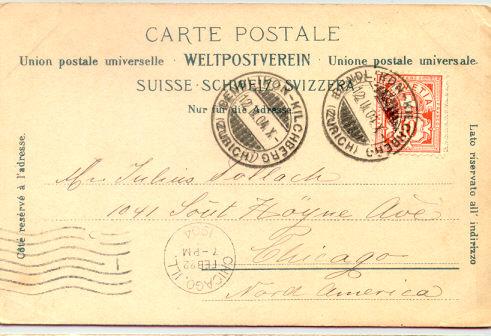 โปสการ์เก่า หายาก ส่งจากประเทศสวิสเซอร์แลนด์ ไปอเมริกา ปี 1904