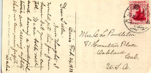 โปสการ์เก่า หายาก ส่งจากประเทศอียิป ไปอเมริกา ปี 1923