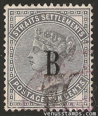 แสตมป์ไปรษณีย์กงศุลอังกฤษ ปี พ.ศ. 2425 - 2428 ราคา 10 เซ็นต์ สีน้ำเงินเทา ลายน้ำมงกุฎ CC ใช้แล้ว