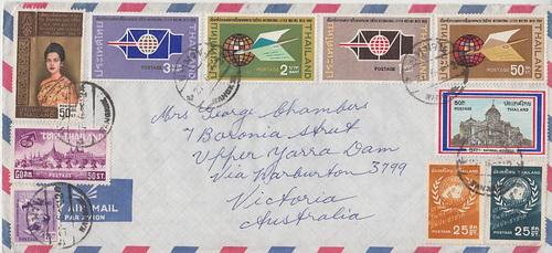 ซองจดหมายส่งจากไทย ไป เมลเบิร์น ออสเตรเลีย ปี 2504 ติดแสตมป์เก่าหลายดวง สภาพสวยครับ