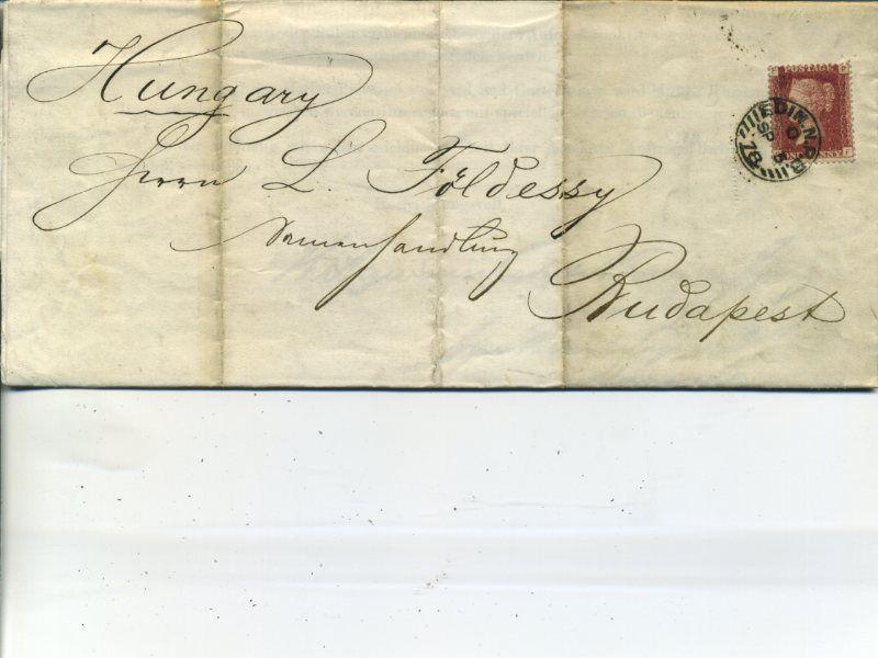 021 จดหมายติดแสตมป์เก่าประเทศอังกฤษ ปี ค.ศ. 1878 (พ.ศ.2421 สมัยต้นรัชกาลที่ 5) ติดแสตมป์เพนนีเรด