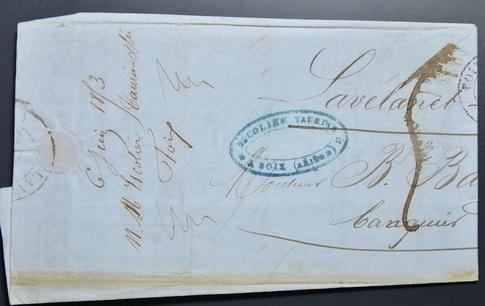 045 จดหมายเก่ามากไม่ติดแสตมป์ (Stampless Cover) ประเทศฝรั่งเศส ปี ค.ศ. 1853 (พ.ศ.2396 สมัยต้นรัชกาลท