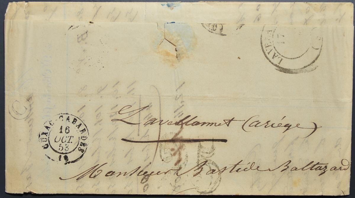 046 จดหมายเก่ามากไม่ติดแสตมป์ (Stampless Cover)ประเทศฝรั่งเศส ปี ค.ศ. 1853 (พ.ศ.2396 สมัยต้นรัชกาลที