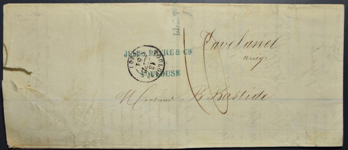 047  จดหมายเก่ามากไม่ติดแสตมป์ (Stampless Cover) ประเทศฝรั่งเศส ปี ค.ศ. 1851 (พ.ศ.2394)