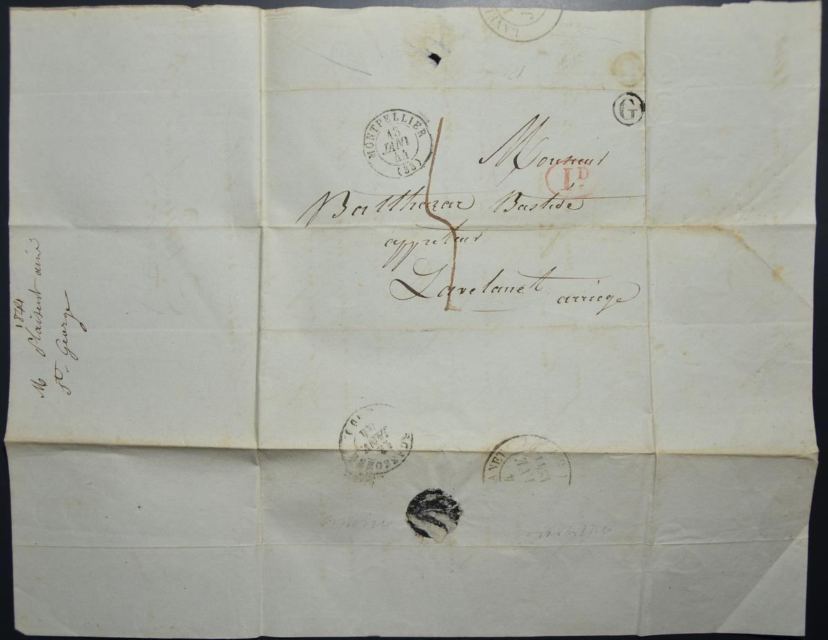 048 จดหมายเก่ามากไม่ติดแสตมป์ (Stampless Cover) ประเทศฝรั่งเศส ปี ค.ศ. 1844 (พ.ศ.2387 สมัยรัชกาลที่