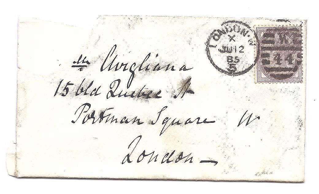 050 ซองจดหมายเก่าประเทศอังกฤษ ปี ค.ศ. 1885 (พ.ศ. 2428 ตรงกับรัชสมัย ร.5)
