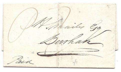 051 ซองจดหมายเก่า ไม่ติดแสตมป์ (Stampless Cover) ประเทศอังกฤษ ปี ค.ศ. 1825 สมัยต้นรัชกาลที่ 3