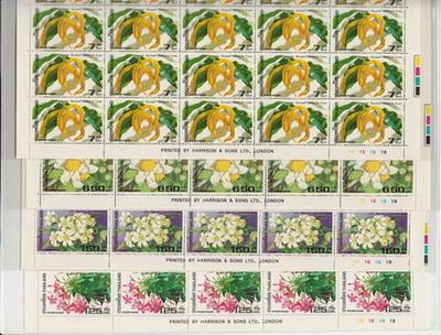 แสตมป์ชุดดอกไม้ไทยปี 2525 ยังไม่ใช้ เต็มแผ่น 50 ดวง สภาพนอก สวยครับ