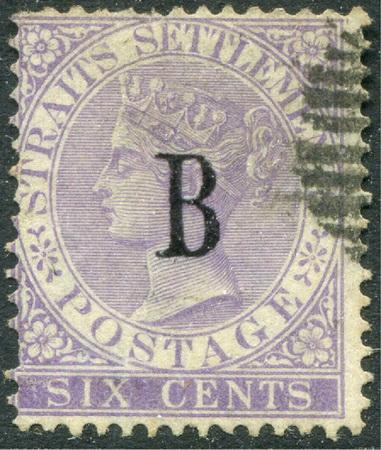 แสตมป์ไปรษณีย์กงศุลอังกฤษ ปี พ.ศ. 2425 - 2428 ราคา 6 เซ็นต์ สีม่วง ลายน้ำมงกุฎ CC ใช้แล้ว