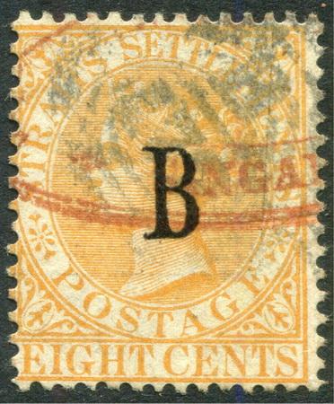 แสตมป์ไปรษณีย์กงศุลอังกฤษ ปี พ.ศ. 2425 - 2428 ราคา 8 เซ็นต์ สีส้ม ลายน้ำมงกุฎ CA ใช้แล้ว หายาก